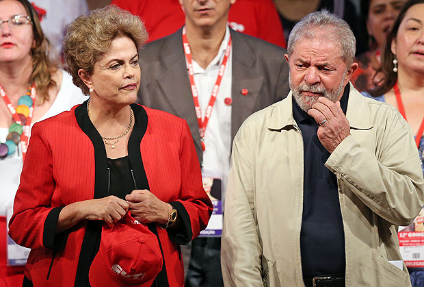 A presidente Dilma Rousseff e Luiz In�cio Lula da Silva durante congresso da CUT em S�o Paulo