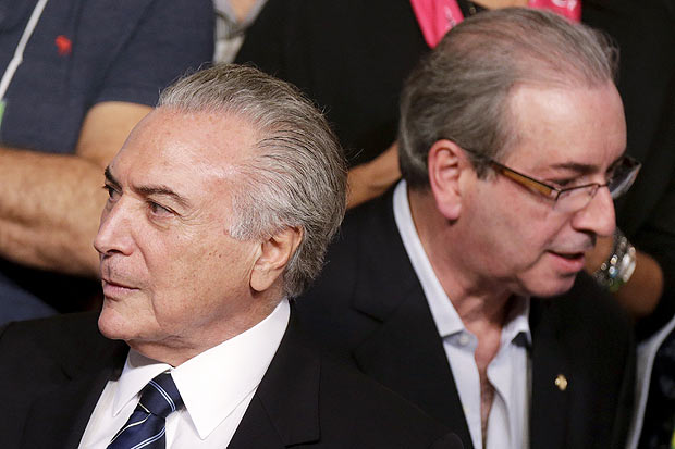 Brazil's Vice President Michel Temer (L) is seen near President of the Chamber of Deputies Eduardo Cunha during the Brazilian Democratic Movement Party (PMDB) national convention in Brasilia, Brazil, March 12, 2016. REUTERS/Ueslei Marcelino ORG XMIT: BSB01