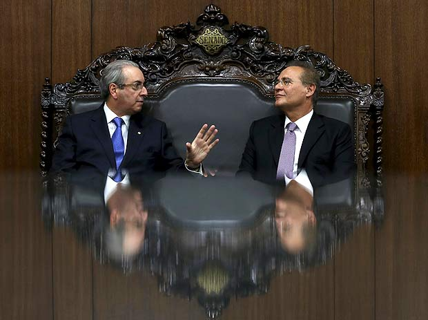 President of the Chamber of Deputies Eduardo Cunha (L) speaks with President of the Brazilian Senate Renan Calheiros during a meeting in Brasilia, Brazil April 18, 2016. REUTERS/Adriano Machado TPX IMAGES OF THE DAY ORG XMIT: BSB02