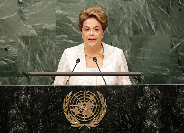 Dilma Rousseff, President of Brazil, speaks before signing the Paris Agreement on climate change, Friday, April 22, 2016 at U.N. headquarters. (AP Photo/Mark Lennihan) ORG XMIT: XUNML111
