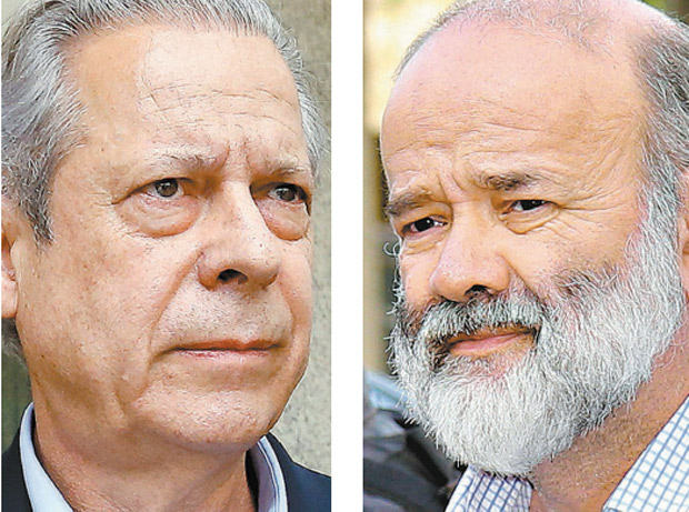Former minister Jose Dirceu (left) and João Vaccari Neto, former treasurer of the Workers' Party
