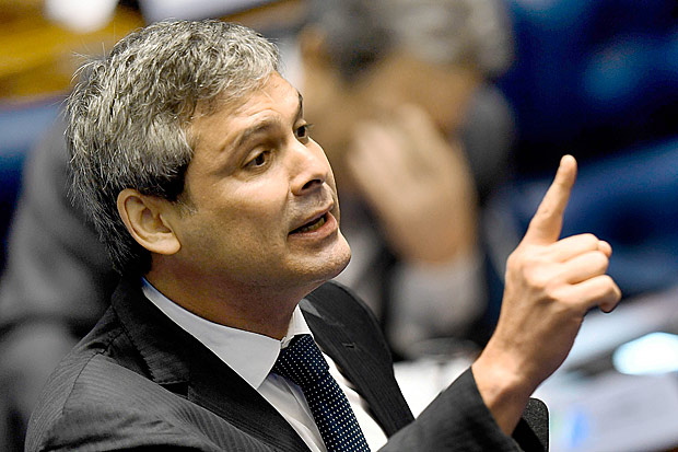 O senador Lindbergh Farias (PT/RJ), durante sessão final do impeachment no Senado
