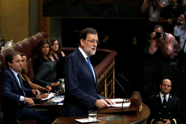 Spain's acting PM and People's Party (PP) leader Mariano Rajoy delivers a speech during an investiture debate at parliament in Madrid, Spain, August 30, 2016. REUTERS/Juan Medina ORG XMIT: JMG09