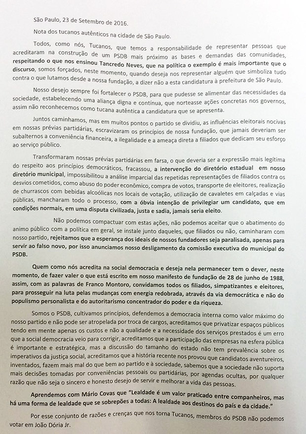 Documento assinado por tucanos descontentes com João Doria