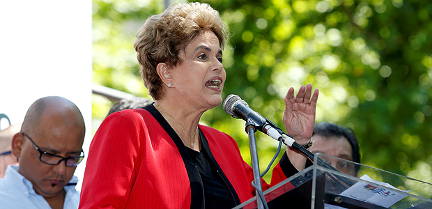 Former Brazilian President Dilma Rousseff gives her speech while participating in a rally organised by Uruguay's workers union PIT-CNT during a strike in Montevideo, Uruguay November 4, 2016. REUTERS/Andres Stapff ORG XMIT: AST04