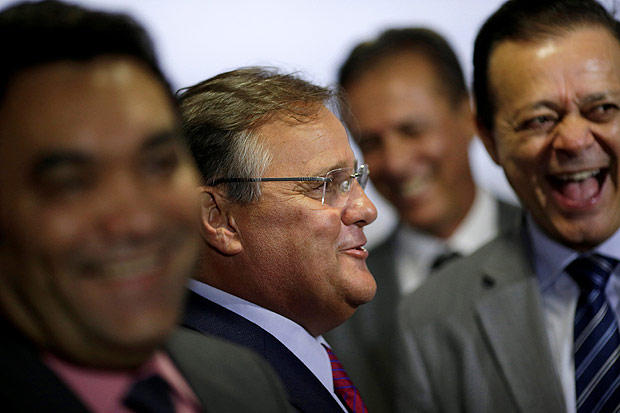 Brazil's Minister Chief of the Secretary Office of Government Geddel Vieira Lima smiles during a meeting with deputies and government leaders of the Chamber of Deputies, in his office at the Planalto Palace in Brasilia, Brazil, November 22, 2016. REUTERS/Ueslei Marcelino ORG XMIT: BSB53
