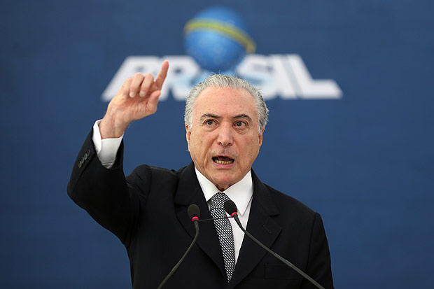 Michel Temer discursa na cerim�nia no Pal�cio do Planalto para lan�amento do cart�o Construcard