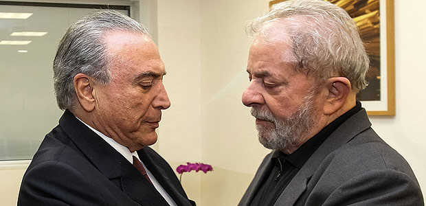 "This handout picture released by the Brazilian Presidency on February 3, 2017 shows Brazil's President Michel Temer (L) giving his condolences to former president Luis Inacio Lula da Silva after the death of Lula's wife Marisa Leticia at the Sirio-Libanes Hospital in Sao Paulo. The wife of Brazil's embattled former president Luiz Inacio Lula da Silva died on February 2, a week after she was hospitalized with a brain hemorrhage, doctors in Sao Paulo said. / AFP PHOTO / BRAZILIAN PRESIDENCY / Beto Barata / RESTRICTED TO EDITORIAL USE - MANDATORY CREDIT ""AFP PHOTO /BETO BARATA/BRAZILIAN PRESIDENCY "" - NO MARKETING - NO ADVERTISING CAMPAIGNS - DISTRIBUTED AS A SERVICE TO CLIENTS ORG XMIT: NAL003"