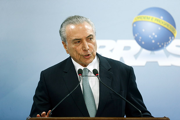 Michel Temer em pronunciamento no Pal�cio do Planalto