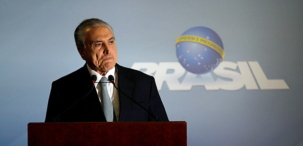 O presidente Michel Temer em discurso no Pal�cio do Planalto