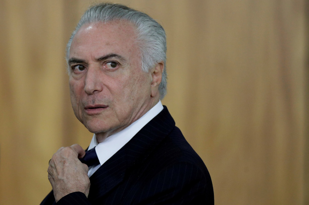 Brazilian President Michel Temer looks on during a ceremony at Planalto Palace in Brasilia