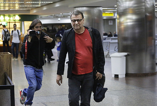 The former Italian communist militant Cesare Battisti arrives from the city of Campo Grande to the Sao Paulo international airport, in Sao Paulo, Brazil