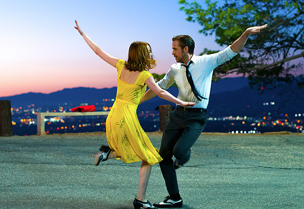 "This image released by Lionsgate shows Ryan Gosling, right, and Emma Stone in a scene from, ""La La Land."" The Producers Guild of America has nominated awards season favorites ""La La Land,"" ""Moonlight"" and ""Manchester by the Sea"" for its top award, as well as the R-rated superhero film ""Deadpool."" Winners will be announced in a Jan. 28 ceremony in Beverly Hills, Calif. (Dale Robinette/Lionsgate via AP) ORG XMIT: NYET203"