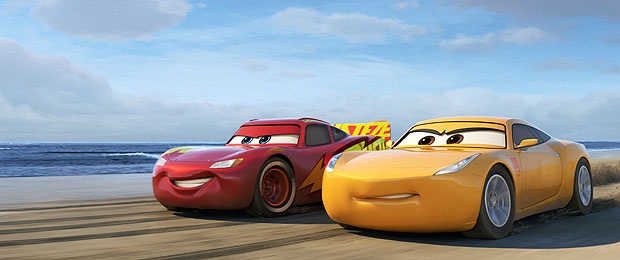 "This image released by Disney shows Lightning McQueen, voiced by Owen Wilson, left, and Cruz Ramirez, voiced by Cristela Alonzo in a scene from ""Cars 3."" (Disney-Pixar via AP) ORG XMIT: NYET902"