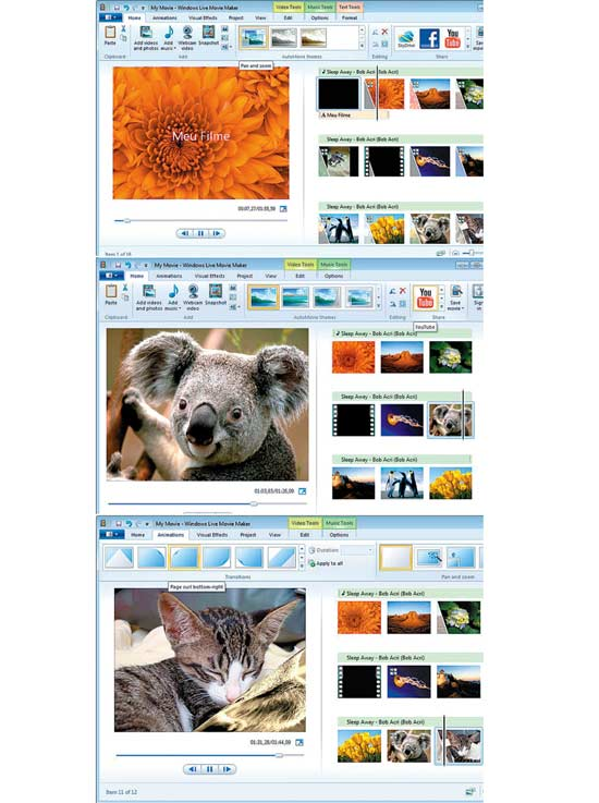 Telas do novo Windows Live Movie Maker, programa de edição de vídeos gratuito da Microsoft