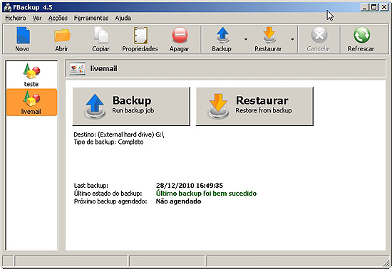 O FBackup 4.5, programa com interface simples que permite a realizao de backups de arquivos.
