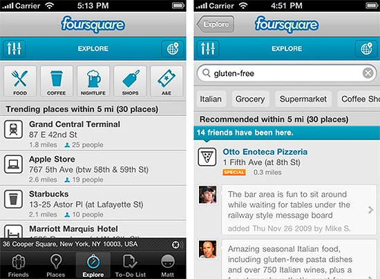 Telas do Foursquare 3.0 para iPhone