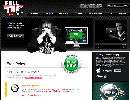 Tela do site de pôquer on-line Full Tilt Poker