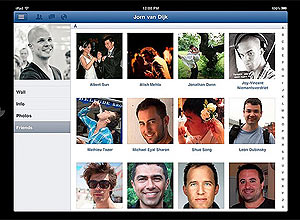 Tela do aplicativo do Facebook para iPad