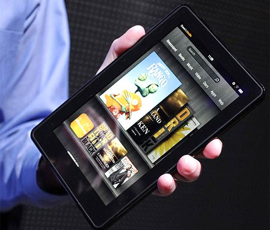 Kindle Fire, tablet da Amazon, exibido em evento em Nova York