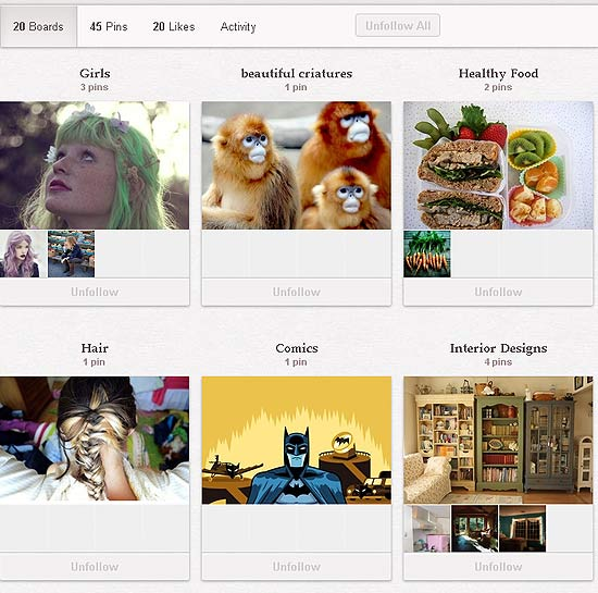 A nova cara dos Boards, espcies de pastas do Pinterest