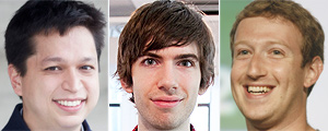 Ben Silbermann, David Karp e Mark Zuckerberg (Montagem)