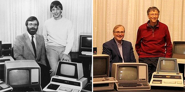 Bill Gates e Paul Allen recriam fotografia icônica de 1981 no museu Living Computer, na cidade de Seattle (EUA)