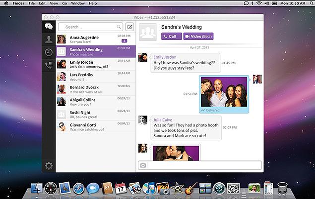Imagem da vers�o para Mac do Viber, aplicativo de mensagens