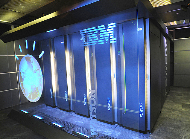 ORG XMIT: NYBZ212 This undated photo provided by International Business Machines Corporation (IBM) shows Watson, powered by IBM POWER7, is a work-load optimized system that can answer questions posed in natural language over a nearly unlimited range of knowledge.(AP Photo/IBM Corporation)