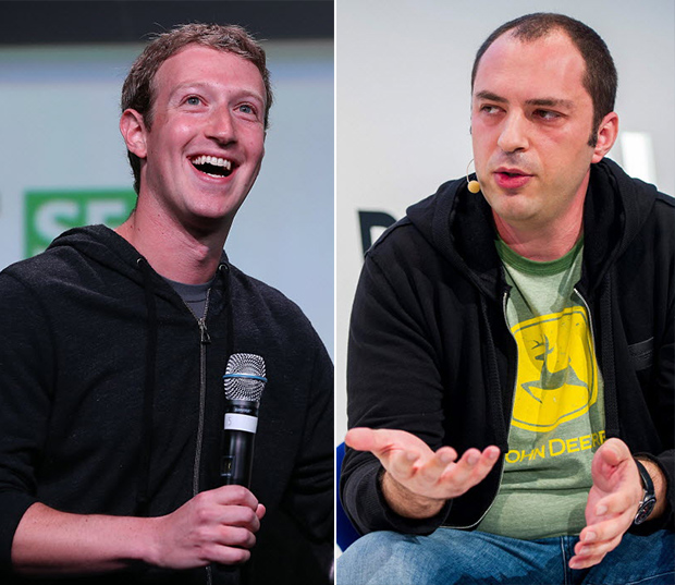 Mark Zuckerberg (esq.), fundador do Facebook, e Jan Koum, fundador do WhatsApp, agora colegas