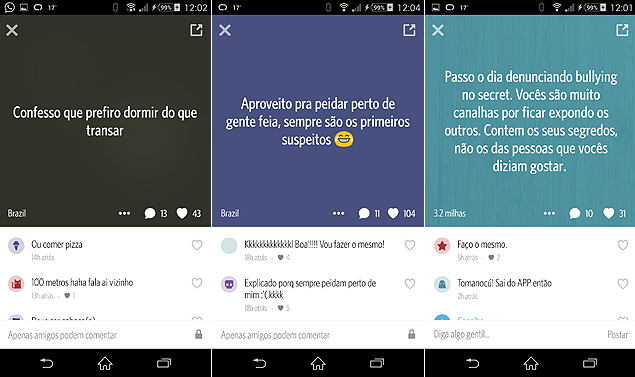 Imagem do aplicativo Secret para Android