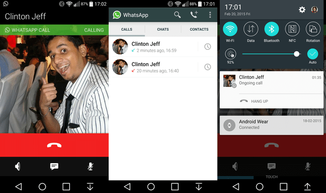 Interface do WhatsApp com acesso ao novo recurso de chamadas de voz