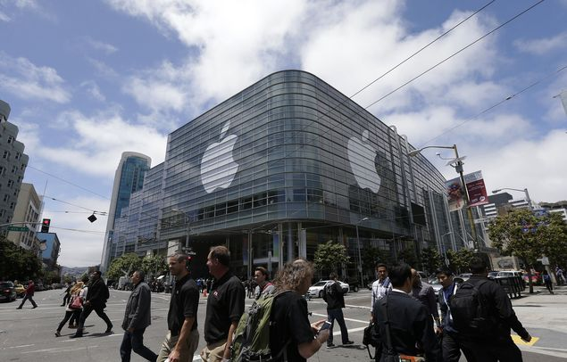 Frente do Moscone Center, onde ocorre a Apple Worldwide Developers Conference