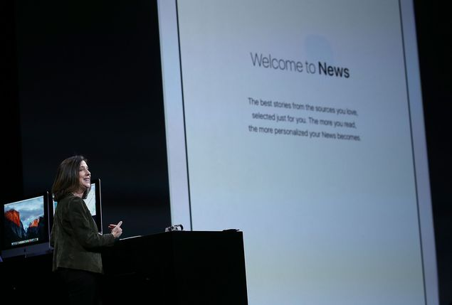 SAN FRANCISCO, CA - JUNE 08: Susan Prescott, Apple vice president of Product Management and Marketing, speaks during the Apple WWDC on June 8, 2015 in San Francisco, California. Apple annouced a new OS X, El Capitan, iOS 9 and Apple Music during the keynote at the annual developers conference that runs through June 12. Justin Sullivan/Getty Images/AFP == FOR NEWSPAPERS, INTERNET, TELCOS & TELEVISION USE ONLY ==