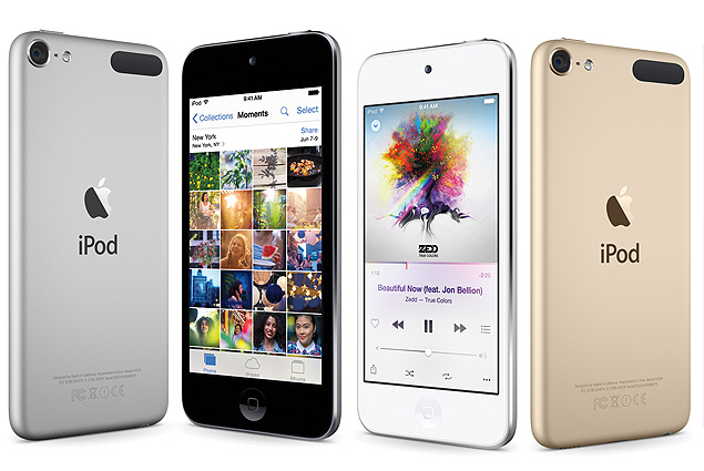 This composite product image provided by Apple shows varieties of the new iPod Touch, available for sale on Wednesday, July 15, 2015. Apple is refreshing its iPod Touch music player for the first time in nearly three years, as the company seeks to make music a central part of its devices once again. (Apple via AP) ORG XMIT: NYBZ107