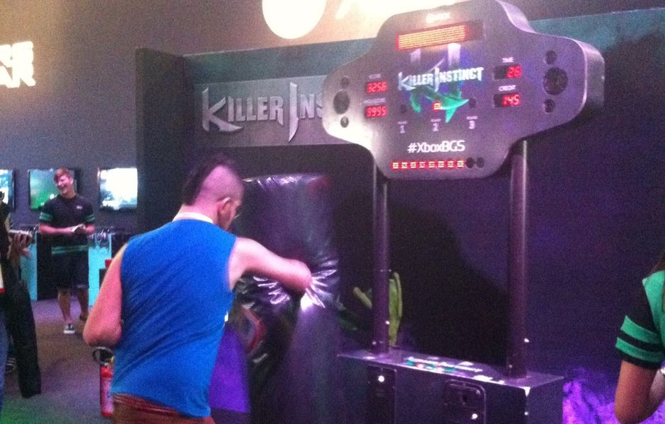 Saco de pancadas do game 'Killer of Instinct', na Brasil Game Show