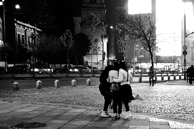 A group of young people grabbing a selfie near Universitate, Bucharest, Romania