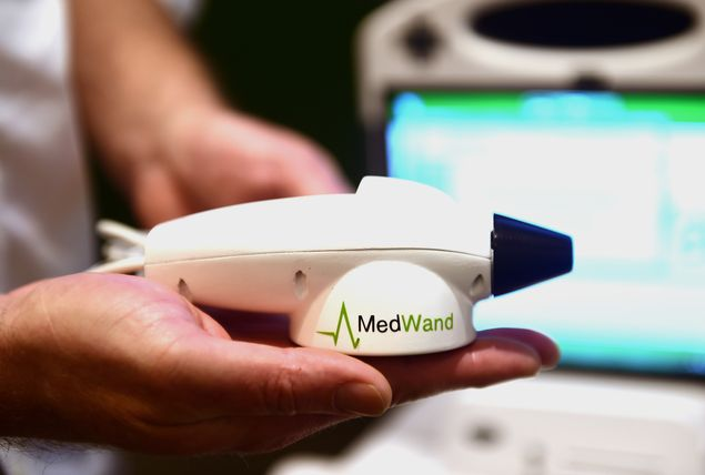 The MedWand medical measurement multi-tool is displayed at CES 2016 in Las Vegas, Nevada, January 7, 2016. The MedWand is a consumer-friendly medical device that connects to a computer enabling a doctor in any location to conduct examinations of patients who are in another city, state or country. AFP PHOTO / Robyn BECK ORG XMIT: RLB571