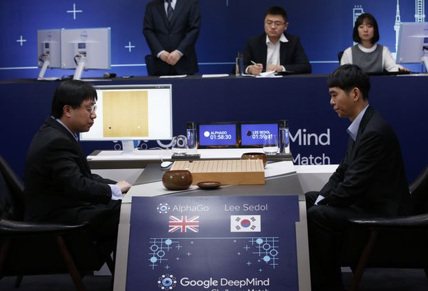South Korean professional Go player Lee Sedol, right, prepares for his second stone against Google's artificial intelligence program, AlphaGo, as Google DeepMind's lead programmer Aja Huang, left, sits during the Google DeepMind Challenge Match in Seoul, South Korea, Wednesday, March 9, 2016. Google's computer program AlphaGo defeated its human opponent, South Korean Go champion Lee Sedol, on Wednesday in the first game of a historic five-game match between human and computer. (AP Photo/Lee Jin-man) ORG XMIT: LJM110