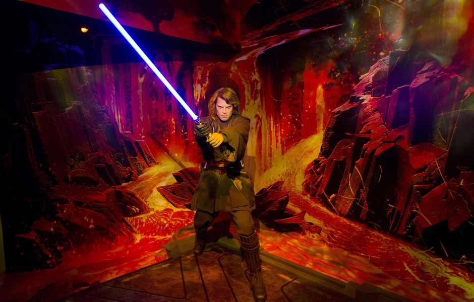 A wax figure of Star Wars character Annakin Skywalker holding a light sabre on show at the Star Wars At Madame Tussauds attraction in London on May 12, 2015. AFP PHOTO/JUSTIN TALLIS ORG XMIT: 1481