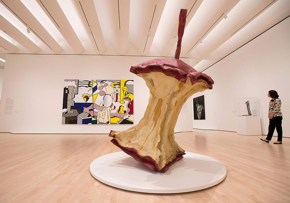 """An art piece called """"Geometric Apple Core"""" is seen inside the San Francisco Museum of Modern Art (SFMOMA) in San Francisco, California on April 28, 2016. The newly redesigned museum integrates a 10-story expansion in a new building and will open to the public on May 14, 2016. / AFP PHOTO / Josh Edelson"""