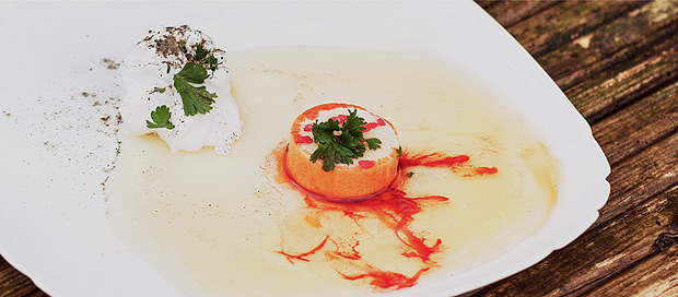 A photo from the fake restaurant's website. The dish was made with bleach tablets and shaving cream. (Chris Bethell, VICE)