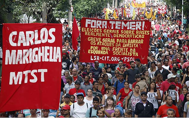 Supporters of suspended President Dilma Rousseff hold a protest against acting president Michel Temer, in Sao Paulo