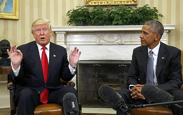 Donald Trump e Barack Obama se re�nem na Casa Branca, em Washington, para come�ar as discuss�es sobre transi��o de poder