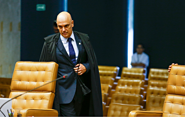 Ministro Alexandre de Moraes durante sessão no plenário para as pautas do Supremo Tribunal Federal