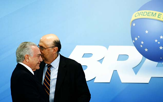 Brazil's President Michel Temer and Finance Minister, Henrique Meirelles