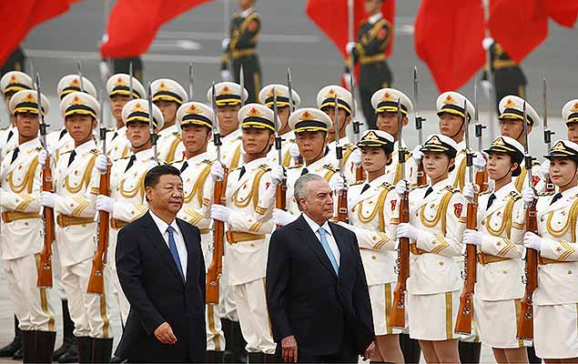 China's President Xi Jinping and Brazil's President Michel Temer inspect the honour guards before talks at the Great Hall of the People in Beijing, China September 1, 2017.