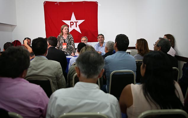 Senator Lindbergh Farias and PT President Gleisi Hoffmann attend a party's executive meeting in Curitiba on Monday