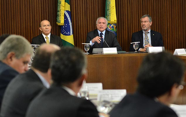 President Michel Temer and ministers Eliseu Padilha and Torquato Jardim during a ministerial meeting in Brasilia