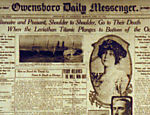 Foto mostra primeira pgina do The Owensboro Daily Messenger sobre a tragdia do Titanic; naufrgio faz cem anos
